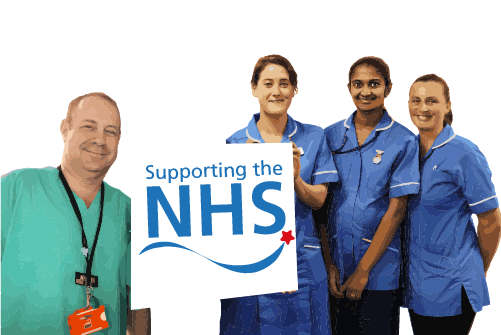 Supporting the NHS - picture of nurses and the hospital logo