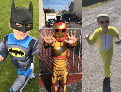 Photos of Oliver running in different costumes - Batman, Iron Man and a Duck!
