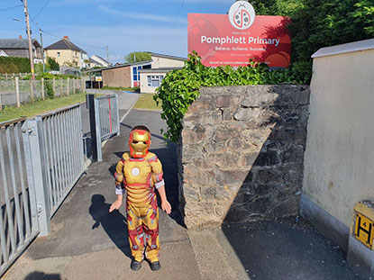 Young ollie dressed as ironman