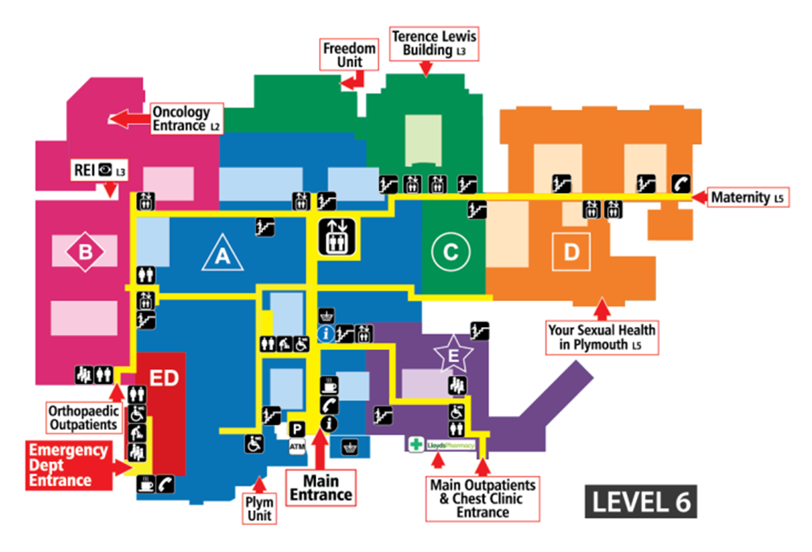 A map of the main outpatient department