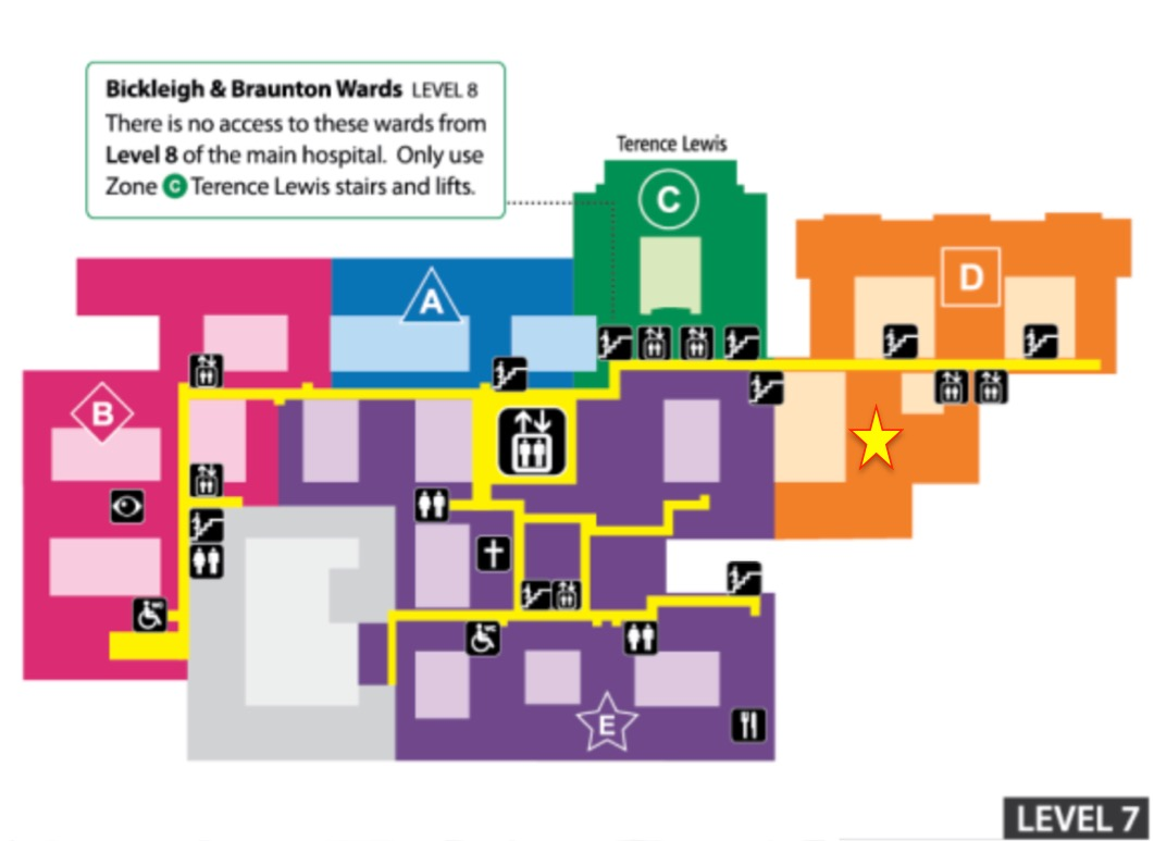 Map to show where endoscopy unit is