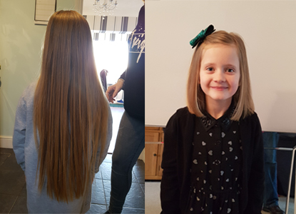 Lola's hair before and after