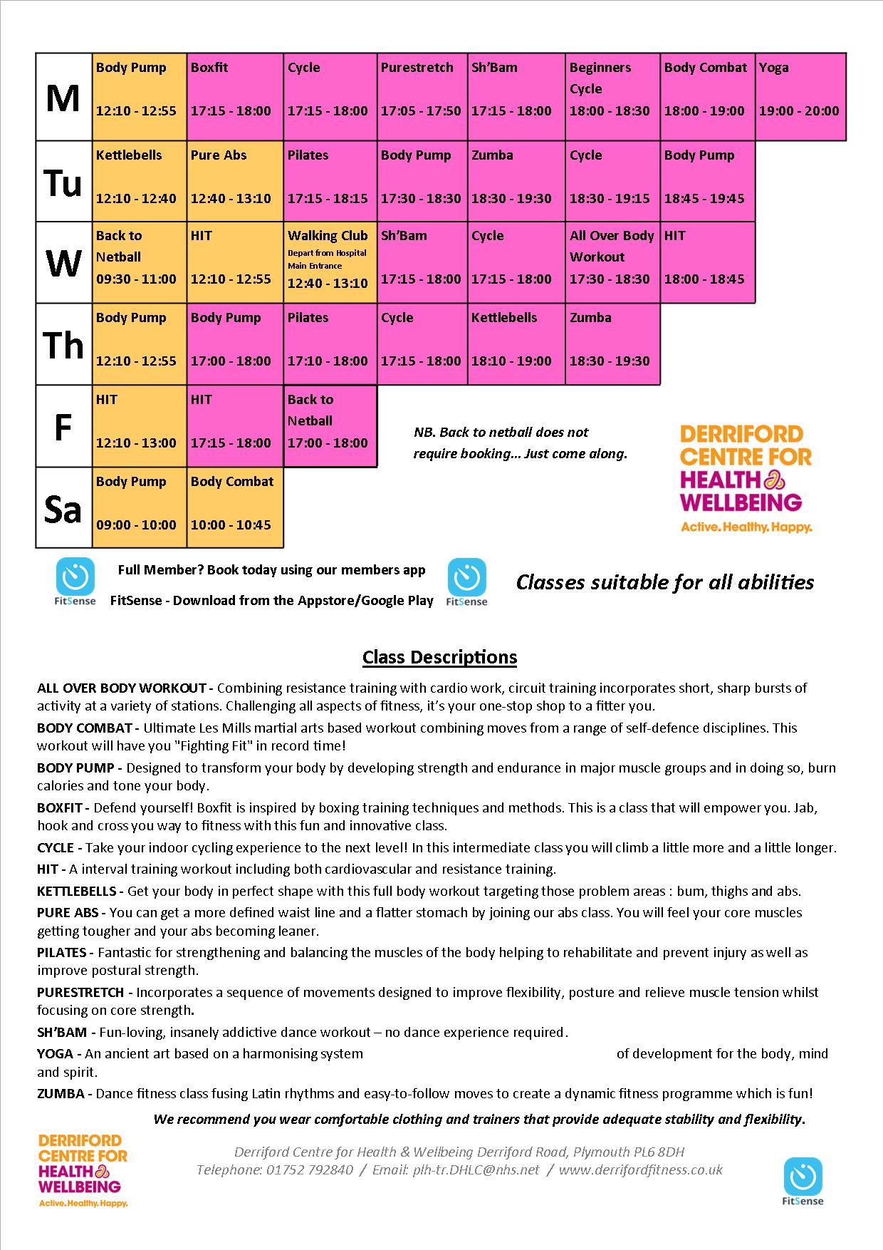 Class timetable 16/04/18