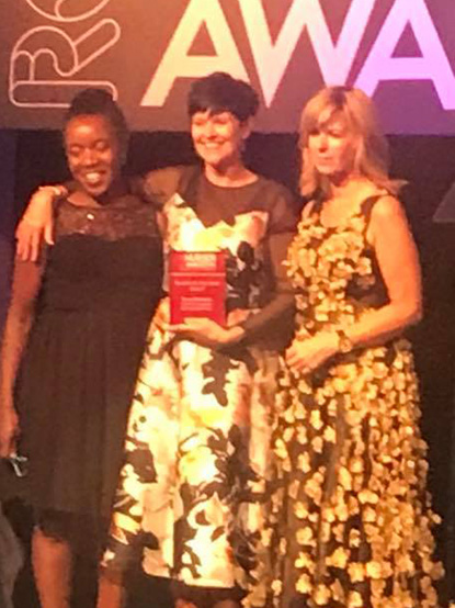 Fiona collecting award from Kate Garraway
