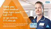 NHS 111 information including 111.nhs.uk